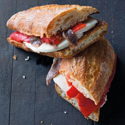 Bocadillos with Cheese, Anchovies and Peppers