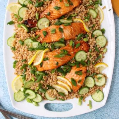 Salmon with Toasted Sesame Farro