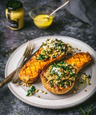 Mustard and Maple Farro-Stuffed Butternut Squash