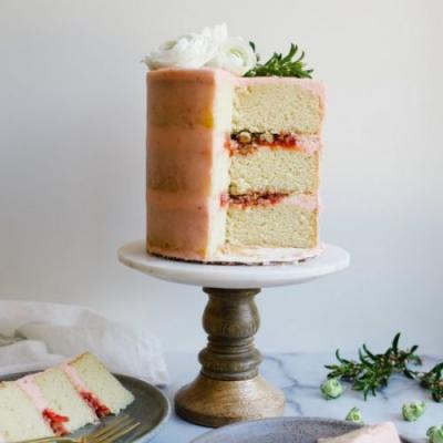 Strawberry Rhubarb Layer Cake