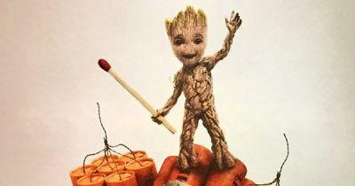 Baby Groot Gets Explosive in Guardians of the Galaxy 2 Poster