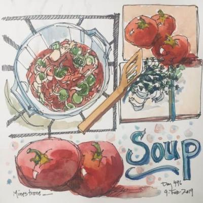 "Day 496 ""Minestrone"" ink & watercolor"