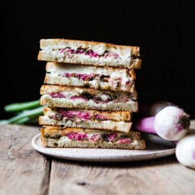Rhubarb and Chèvre Grilled Cheese