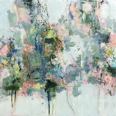 """Contemporary Abstract Expressionist Painting """"AN AFTER DINNER WALK"""" by Abstract Artist Pamela Fowler Lordi"""