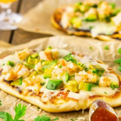 Shrimp & Avocado Grilled Naan Pizza