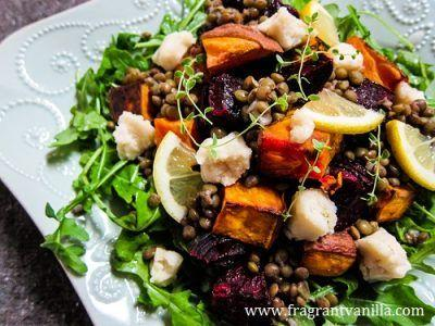 Roasted Sweets and Beets Lentil Salad
