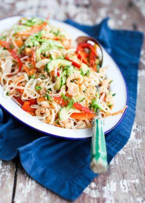 Rainbow Rice Noodle Salad with Shrimp and Sesame