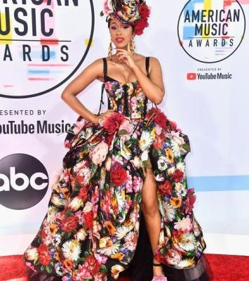 Cardi B's 2018 American Music Awards Look Is A Floral Wonderland & Your Garden Could NEVER