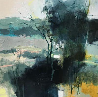 """Abstract Mixed Media Landscape Painting """"Composed Reverence"""" by Intuitive Artist Joan Fullerton"""