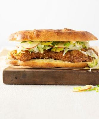 Pork Schnitzel Sandwich with Apple Brussels Slaw