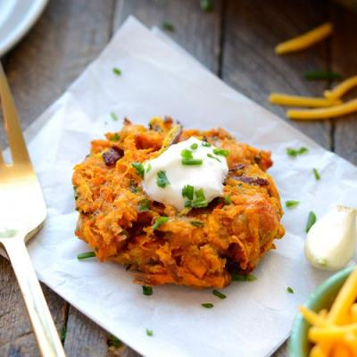 Cheddar Sweet Potato Hash Browns Fritters