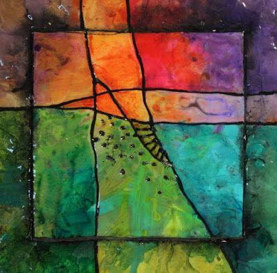 """Colorful Mixed Media Abstract Art Painting """"Gemstone 25"""" by Colorado Mixed Media Abstract Artist Carol Nelson"""