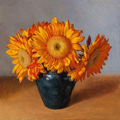 Sunflower oil painting original still life contemporary realism