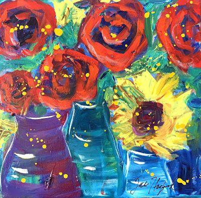 """Roses, Expressive Floral Painting, Colorful Original Flower Art, """"GLAD YOU'RE HERE"""" by Texas Contemporary Artist Jill Haglund"""