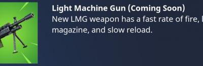 Light Machine Guns are coming to Fortnite