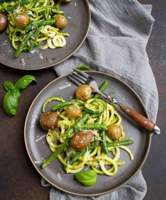 Zucchini Noodles with Pesto & Little Potatoes