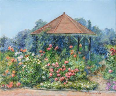 Gazebo with flowers, oil painting on linen canvas by Dominique Amendola, landscape painting, framed painting