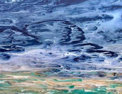 "Ocean, Abstract Seascape Painting,Coastal Home Decor,Abstract Beach , ""Ocean Spray"" by International Contemporary Seascape Artist Kimberly Conrad"