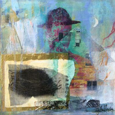 """Mixed Media Abstract Painting, Collage """"He Had a Mysterious Past"""" by Intuitive Artist Joan Fullerton"""