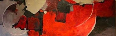 "Mixed Media Abstract Painting ""COLOR STUDY RED"