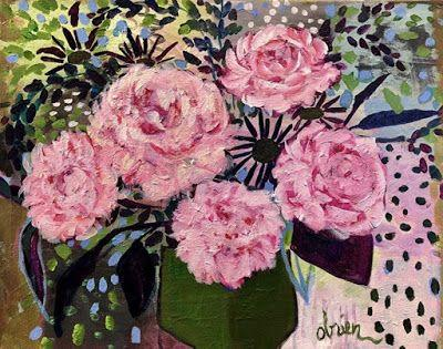 """Bold Expressive Still Life Art Painting """"May Peonies"""" by Santa Fe Artist Annie O'Brien Gonzales"""