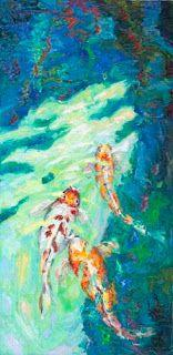 """New """"Following the Leader"""" Palette Knife Koi Fish Painting by Niki Gulley"""