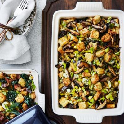 Rustic Stuffing with Leeks and Wild Mushrooms