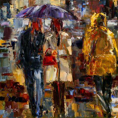 "Abstract Figurative Oil Painting, Purple Umbrella, Rainy City,Palette Knife ""Handbag Series 3"""