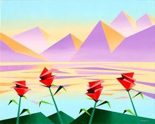 Mark Webster - Abstract Purple Mountains with Flowers 2 - Geometric Cubist Acrylic Painting