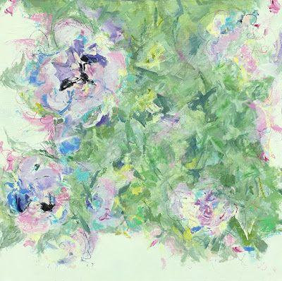 """Contemporary Floral Abstract Fine Art Painting, """"FUSION"""" by Contemporary Expressionist Pamela Fowler Lordi"""