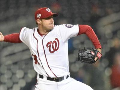 Max Scherzer taken to locker room after bunting ball off face in batting practice