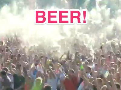England supporters send gallons of beer into the air celebrating opening goal against Croatia in World Cup semifinal