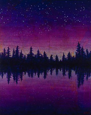 """Contemporary Abstract Landscape Painting, Map Art """" Wisconsin Map Purple Reflections"""" by Contemporary Artist Brian Billow"""
