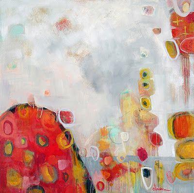 """Contemporary Abstract Mixed Media Painting """"Tulipmania 5"""" by Santa Fe Artist Annie O'Brien Gonzales"""