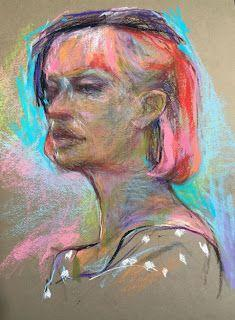 """FEATHER HAT - 12"""" x 9"""" pastel figurative sketch by Susan E. Roden"""