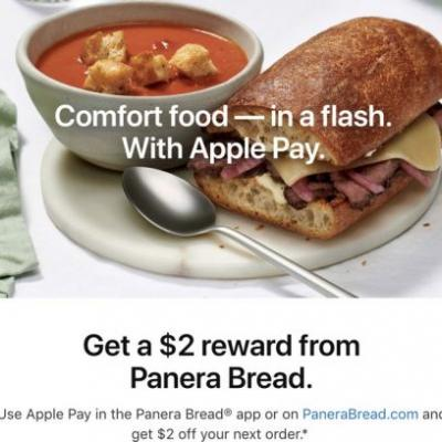 Apple Pay Promo Offers $2 Off Future Panera Bread Order With $10+ Purchase
