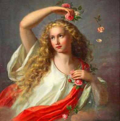 19C Allegory of Spring by Nathanael Schmitt (1847-1918) in 1871