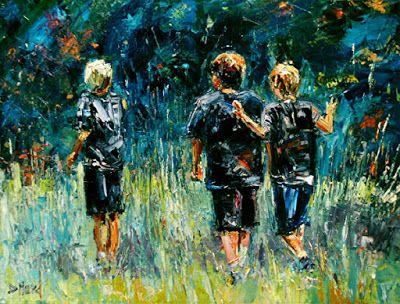 "Figurative Oil Painting of Children ""The Expedition"" by Texas Artis Debra Hurd"