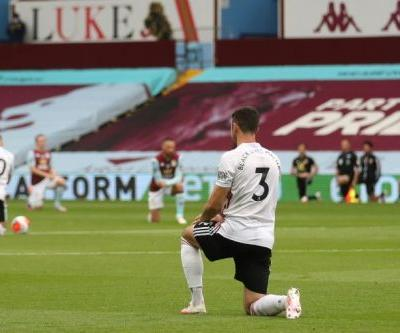 Players take knee before goalline row gives Villa point on Premier League return