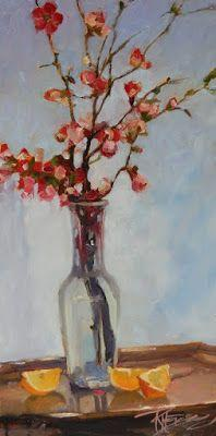 """""""Tall Quince"""" Still life painting by Robin Weiss"""