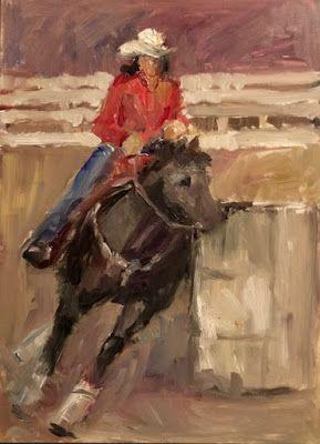On My Easel - figurative rodeo barrel racer painting in progress