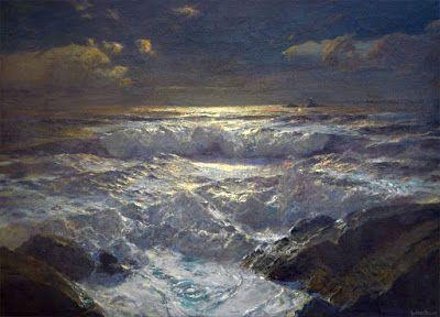 Albert Julius Olsson, Moonlit waves on the shore with The Longships Lighthouse, Land's End, Cornwall