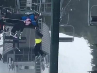 Group of teens help rescue boy dangling from a ski lift