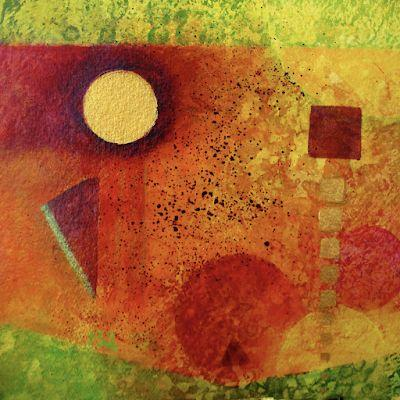 """Contemporary Abstract Mixed Media Painting Geometric Abstract Art """"Morning Has Broken"""" by Contemporary Arizona Artist Pat Stacy"""