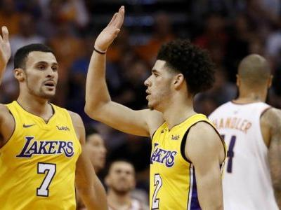 Ball flirts with triple-double, Lakers hold on to beat Suns