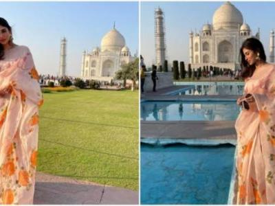 Mouni Roy poses in front of the Taj Mahal in this Rs 25 k floral saree