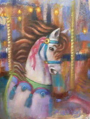 "Contemporary Colorful Equine, Horse, Fine Art Oil Painting ""Carousel Horse II"" by Illinois Artist Marilyn Weisberg Contemporary Colorful Equine, Horse, Fine Art Oil Painting ""Carousel Horse II"" by Illinois Artist Marilyn Weisberg"