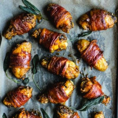 Bacon-Wrapped Cider Chicken Wings