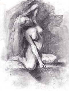 Seated female nude 9x11 charcoal drawing