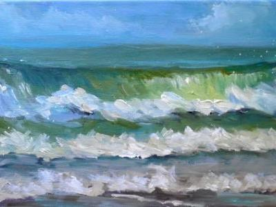 Seascape Painting, Small Oil Painting, Daily Painting, Florida Surf Painting, 8x16x.75
